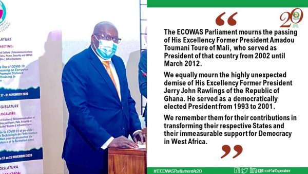 ECOWAS PARLIAMENT MOURNS THE PASSING AWAY OF FORMER PRESIDENTS, SENDS CONDOLENCES
